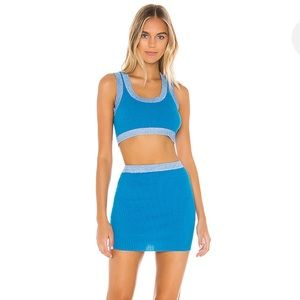 NWT superdown Katie Knit Skirt Set in Aqua Blue